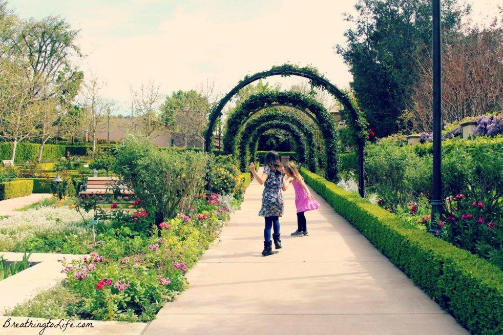 children, garden, flowers