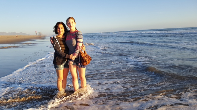 at the beach, beach, shore, sand, water, sea, daughter and mother, sunset
